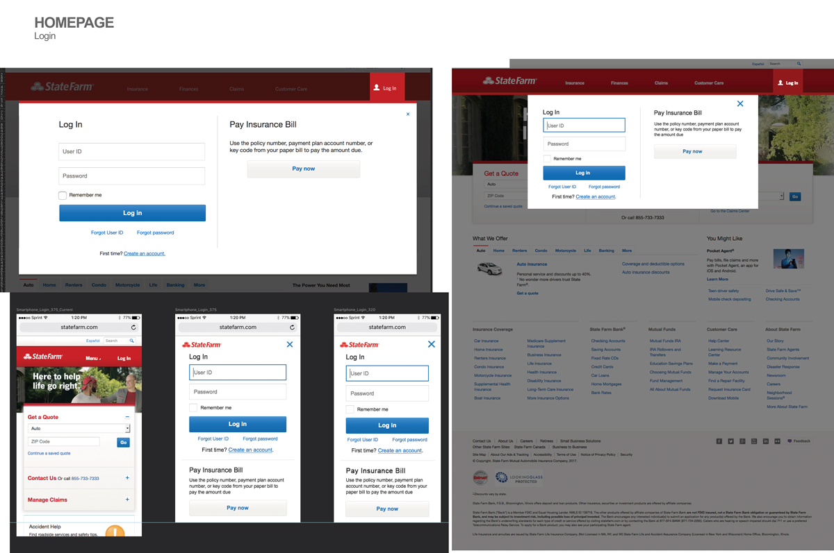 UX - State Farm Login Homepage